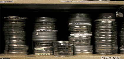 Chaplin film cans at the National Archive