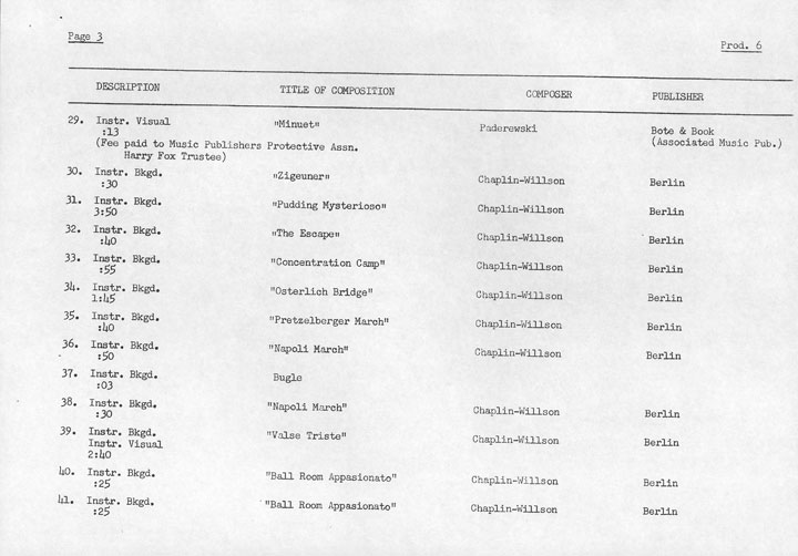 Music Cue Sheet: The Great Dictator