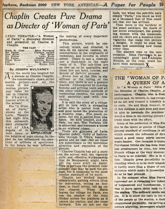 Documents: A Woman of Paris